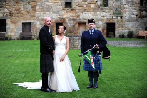 female bagpiper wedding