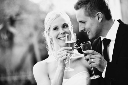 couple toasting at wedding