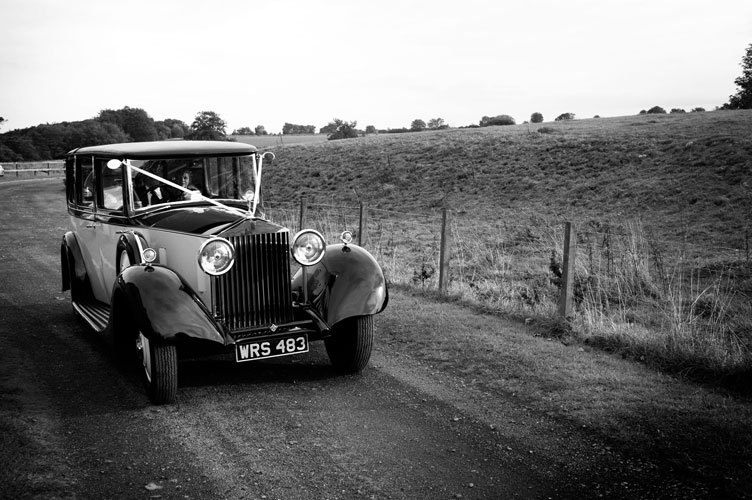 vintage car in scotland wedding
