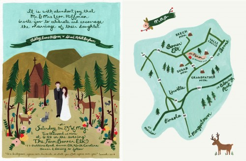 folk art wedding invitation