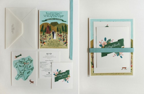 folk art wedding invitations