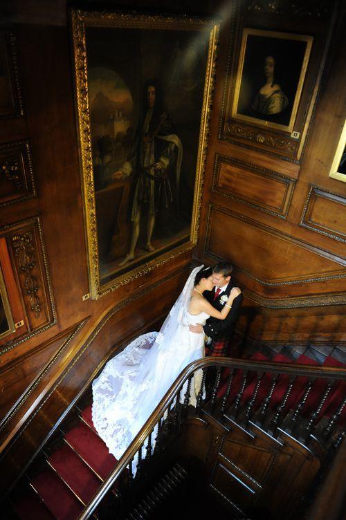 couple in castle wedding