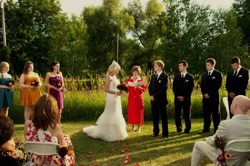 outdoor wedding ceremony at winery