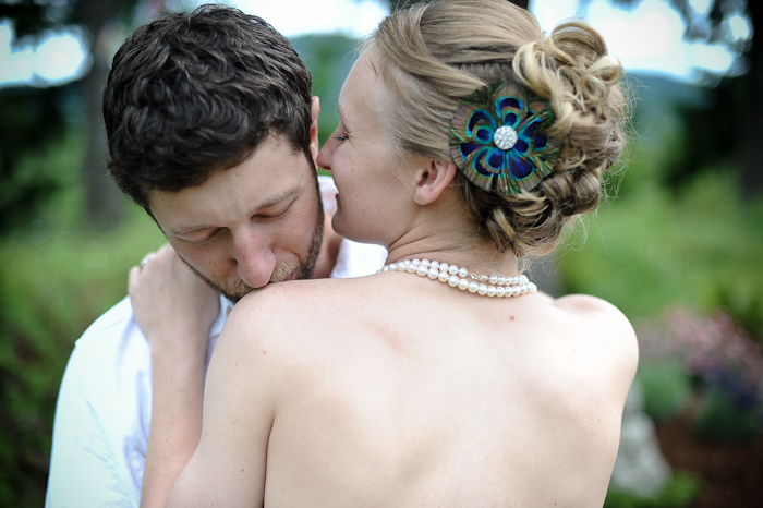 bride with blue flower in hair