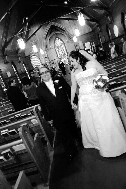 couple leaving church