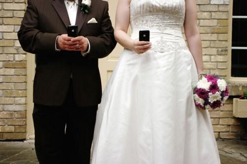 bride checking facebook