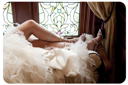 bride with sandals
