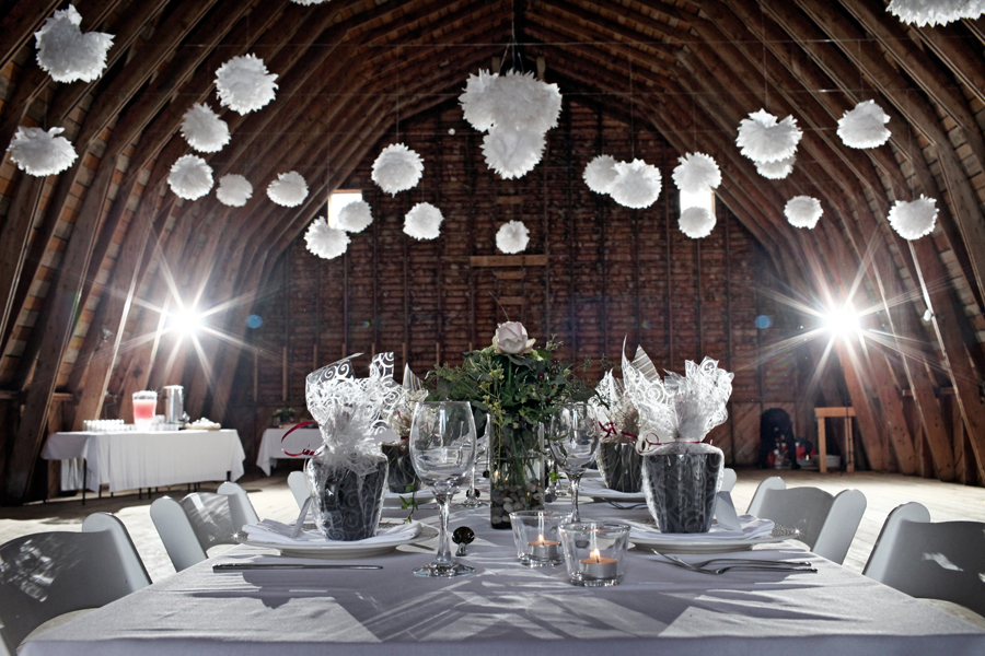 Decorated barn wedding venue