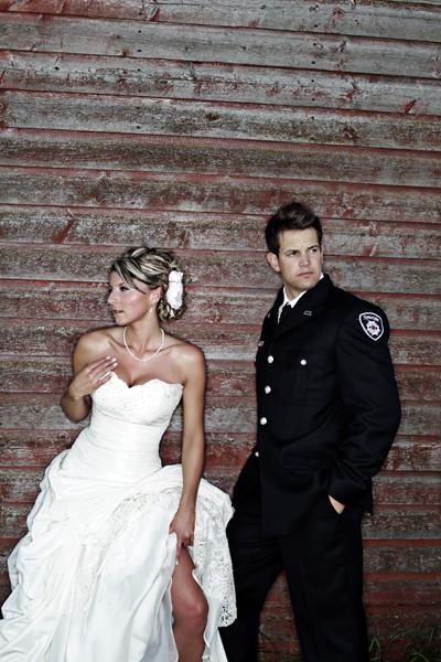 bride and groom farm portrait