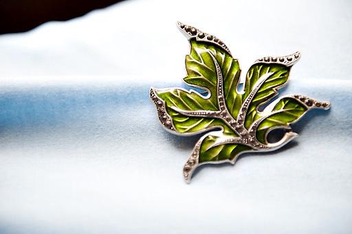 leaf wedding brooch
