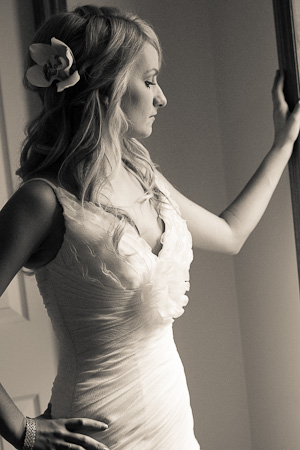 bride gazing out the window