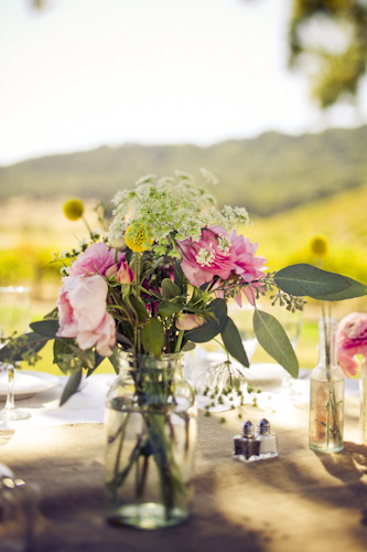 wedding flowers for outdoor wedding in vineyard