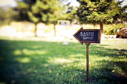 chalkboard lawn games sign