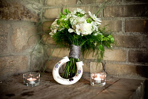 white and green celtic wedding bouquet