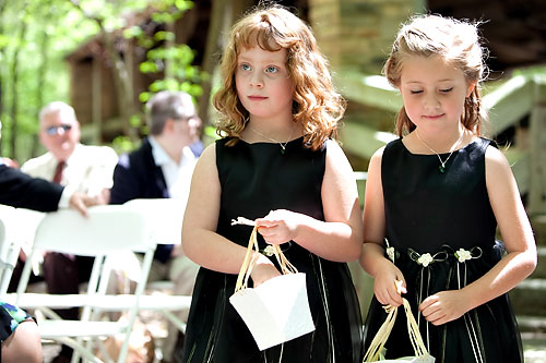 flower girls in black dresses