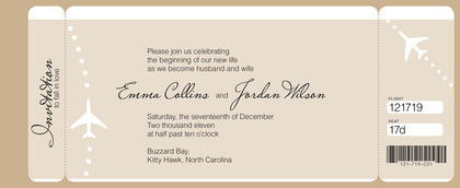MagnetStreet Weddings Offers Personalized Wedding Stationery - Boarding pass wedding invitation template