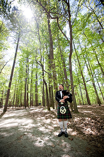wedding bagpiper in the woods