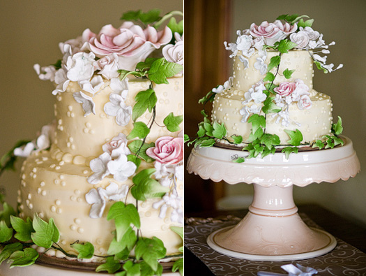 pale yellow wedding cake with pink rose