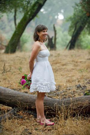 bride in short elopement dress