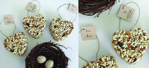 Birdseed Heart Ornament Favors