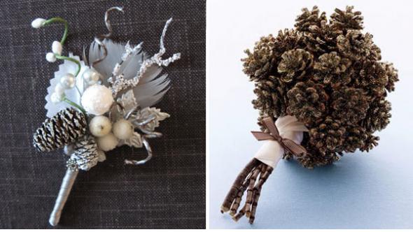 Bó hoa cô dâu bé xinh được kết từ những quả thông khô trông khá lạ mắt.
