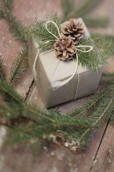 Một hộp quà nho nhỏ được đính thêm quả thông và những nhành lá xanh tươi.