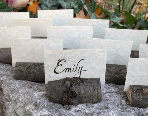 Tree Branch Placecards for a Fall or Winter Wedding