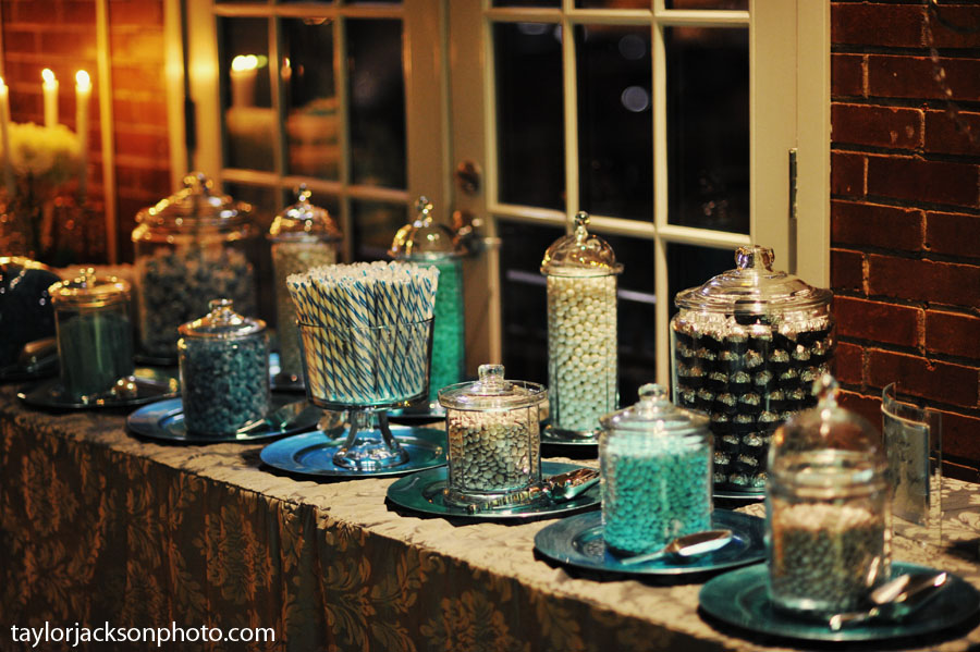 diy winter wedding candy bar teal