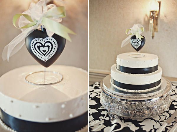 black and white wedding cake heart cake topper