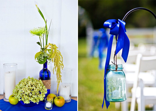 blue wedding decor details mason jars and wine bottles