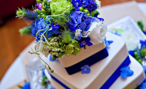 white blue wedding cake flower cake topper