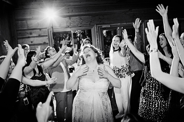 dancing bride at small, intimate wedding