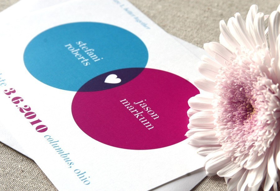 venn diagram heart wedding invitations from etsy