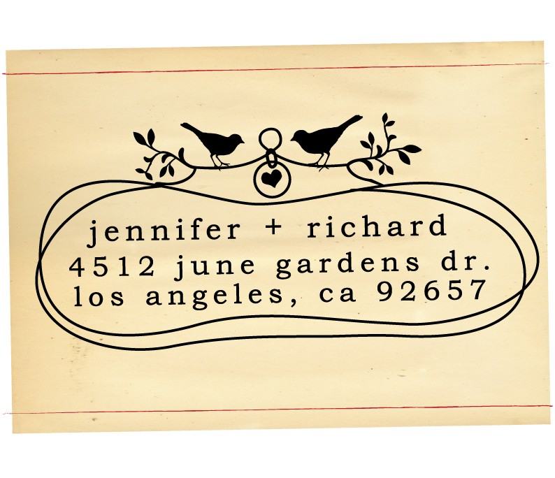 custom heart return address stamp from etsy