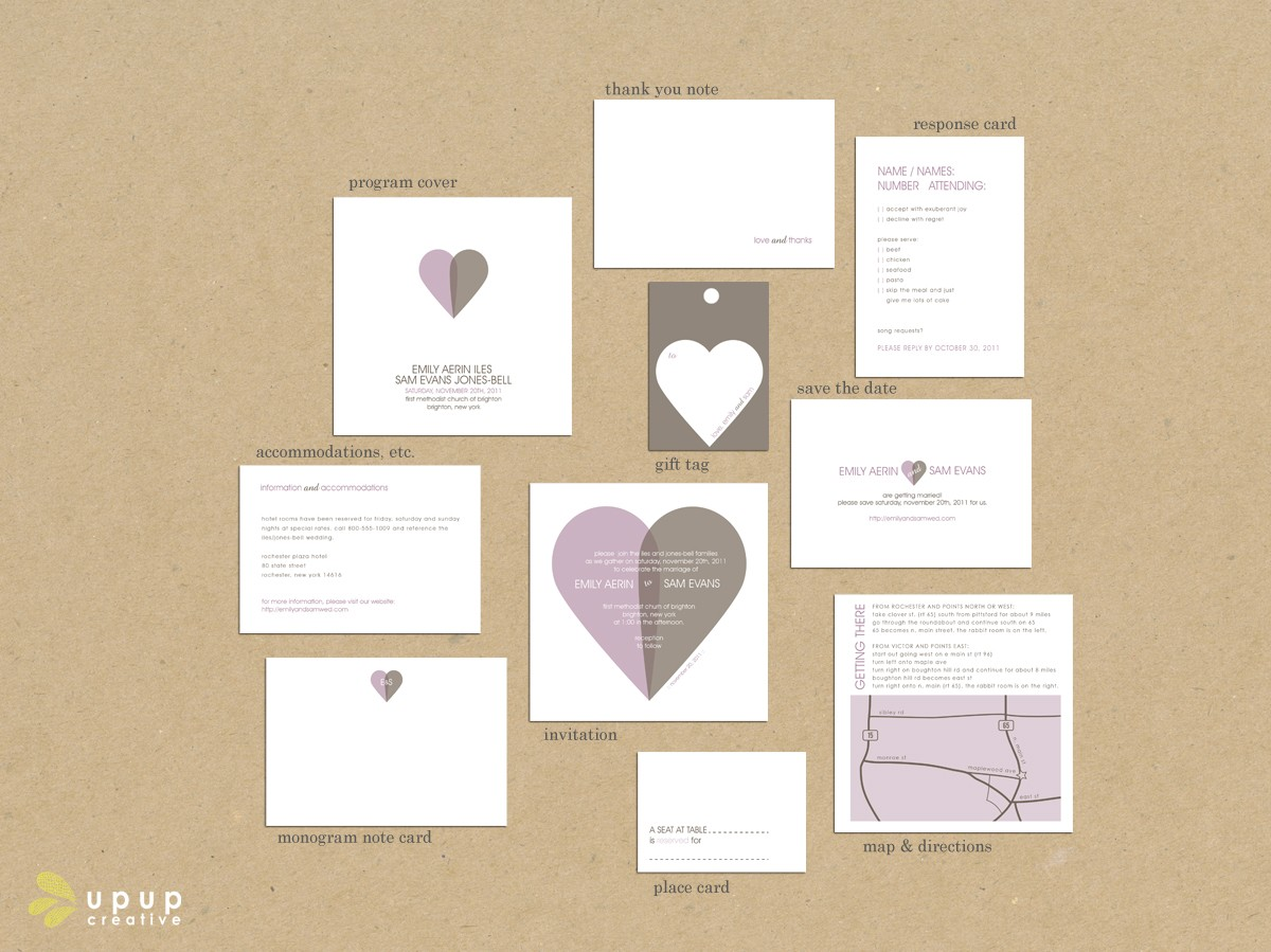 heart-themed wedding invitation suite from etsy