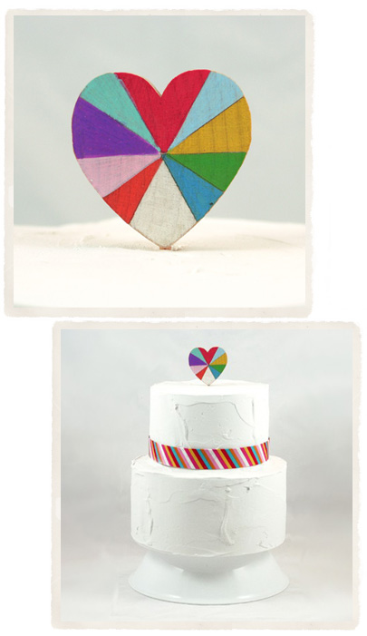 diy indie heart cake topper