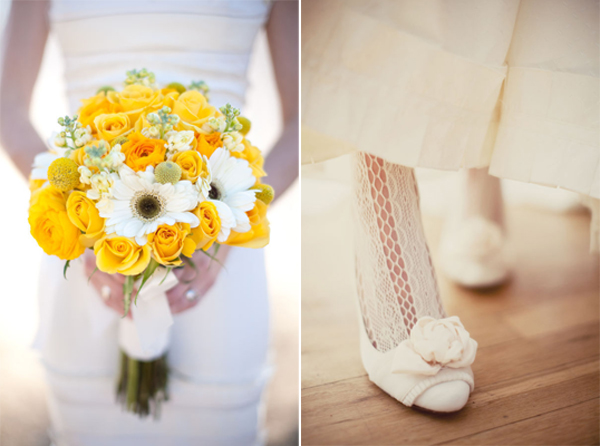 intimate wedding details yellow bouquet