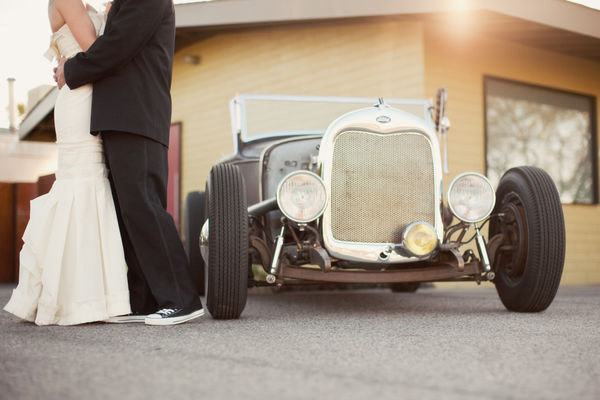 antique getaway car old-fashioned outdoor wedding