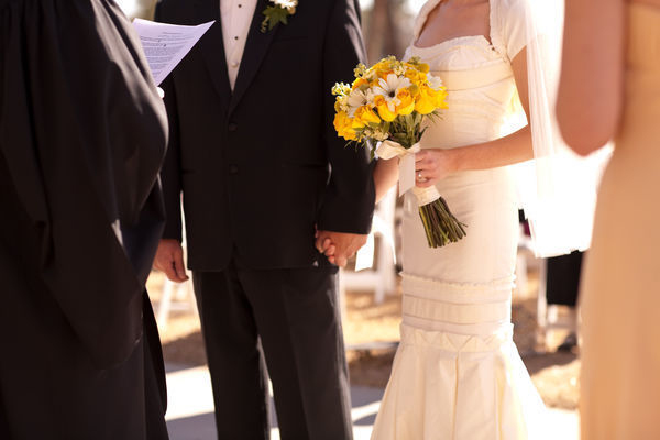 intimate phoenix outdoor wedding yellow bouquet