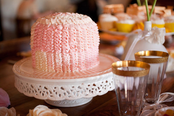 pink white wedding cake arizona intimate wedding