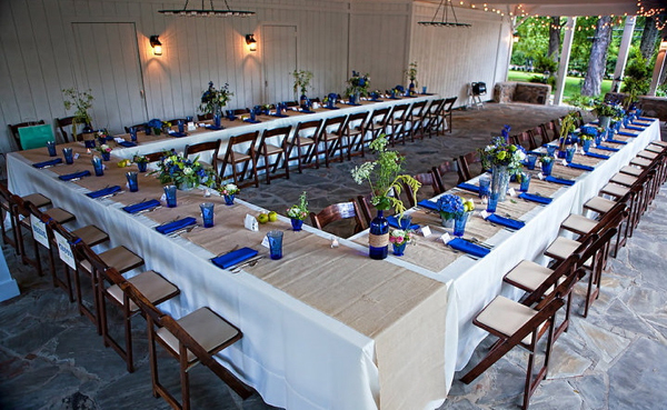 blue wedding decor reception