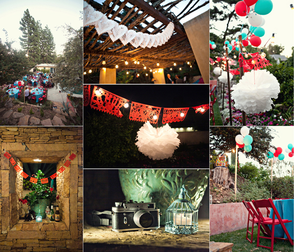 encino california intimate small wedding teal and red wedding decor