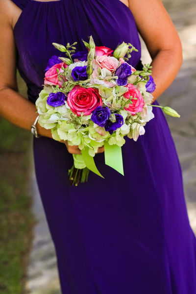purple and pink bridesmaid bouquet
