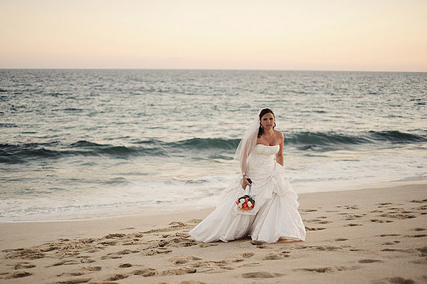 Bride on Mexican beach