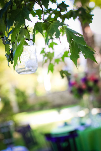 mason jar candle holders hanging in a tree