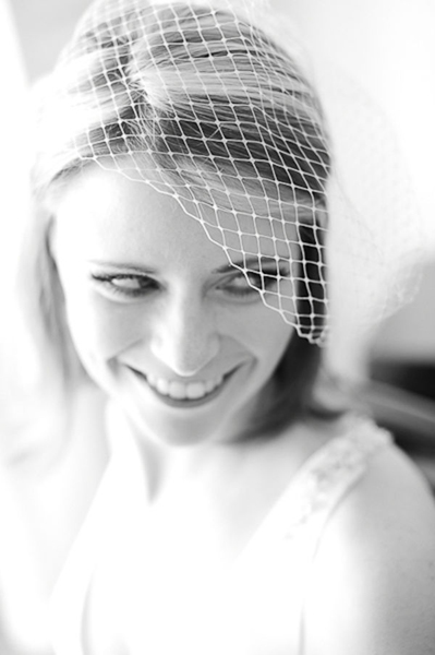 black and white bride in birdcage veil