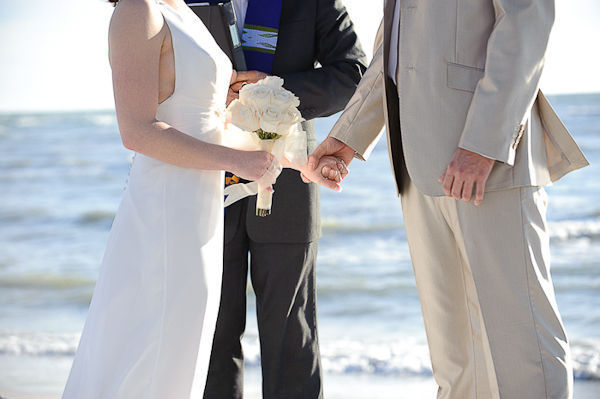 bride and groom eloping on the beach