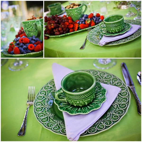 green wedding table setting