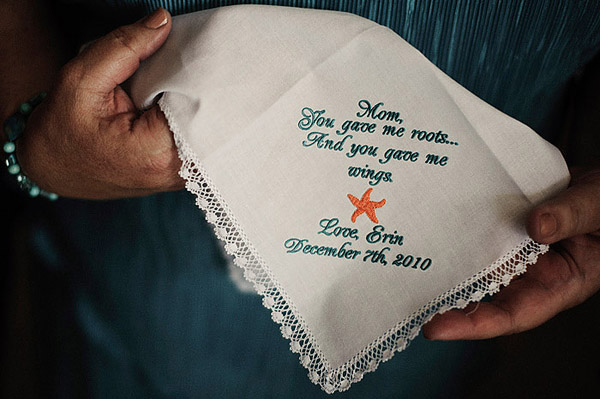 embroidered wedding hanky