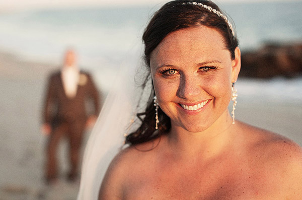 smiling bride on the beach